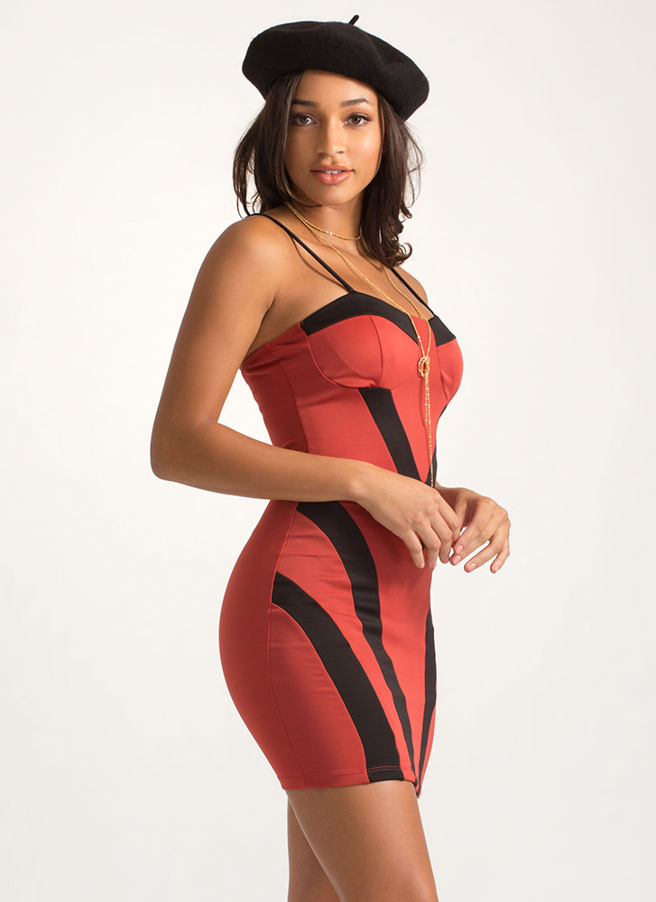 She Wants The V Striped Colorblock Dress RUST