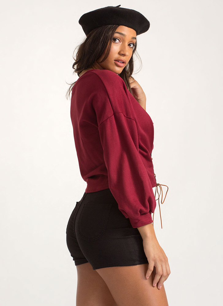 Stay The Corset Lace-Up Sweatshirt BURGUNDY