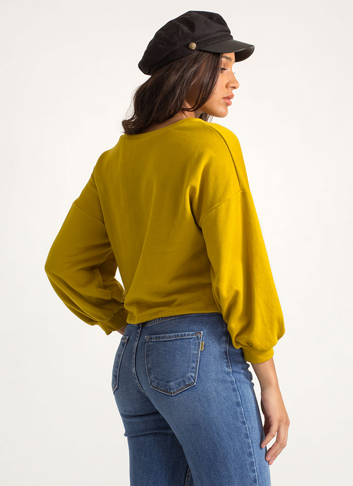 Stay The Corset Lace-Up Sweatshirt MUSTARD