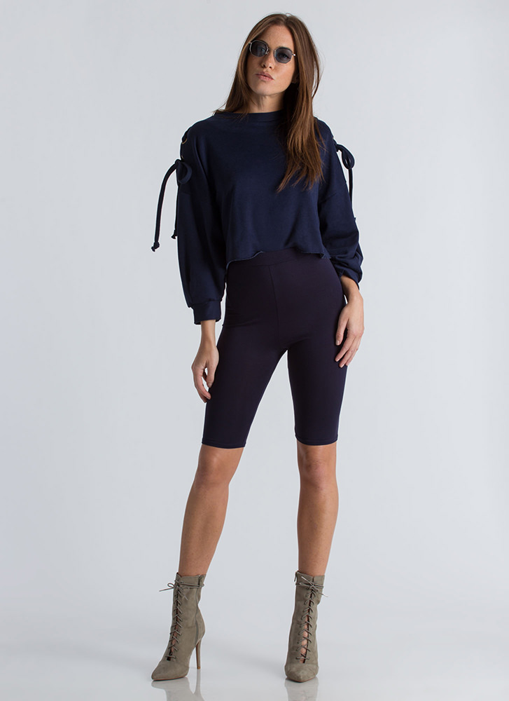 Hi Tied Cropped Lace-Up Sweatshirt NAVY