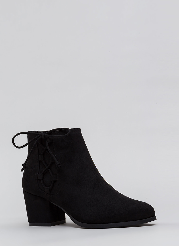 Side Track Chunky Lace-Up Booties BLACK