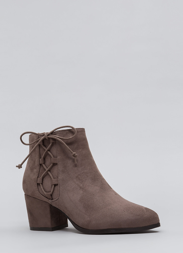 Side Track Chunky Lace-Up Booties TAUPE