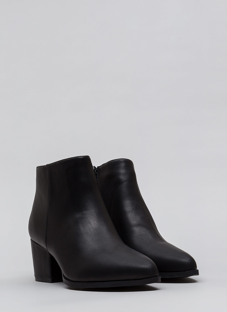 Easy Out Pointy Chunky Block Booties BLACK
