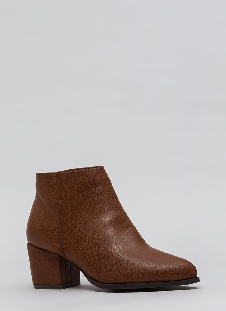 Easy Out Pointy Chunky Block Booties CHESTNUT