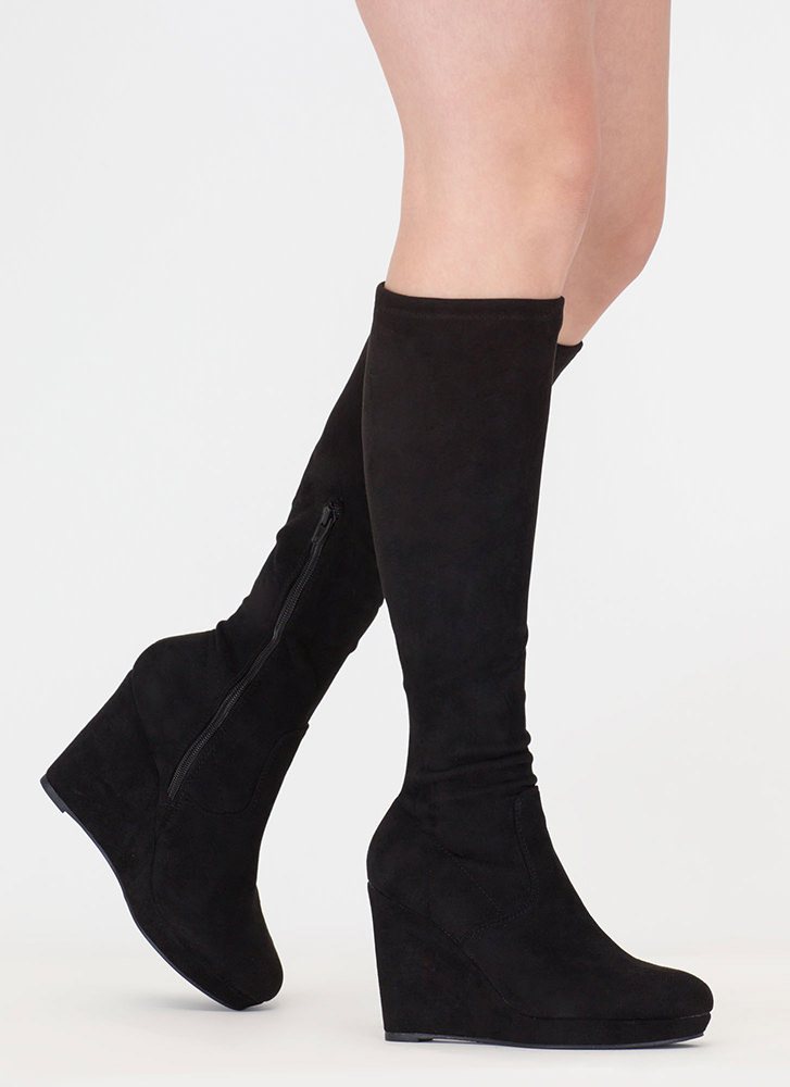 Knee Hi Faux Leather Wedge Boots BLACK