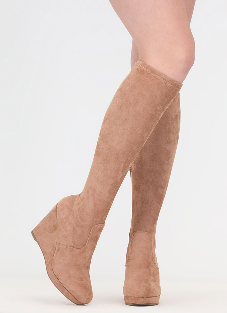 Knee Hi Faux Leather Wedge Boots CAMEL