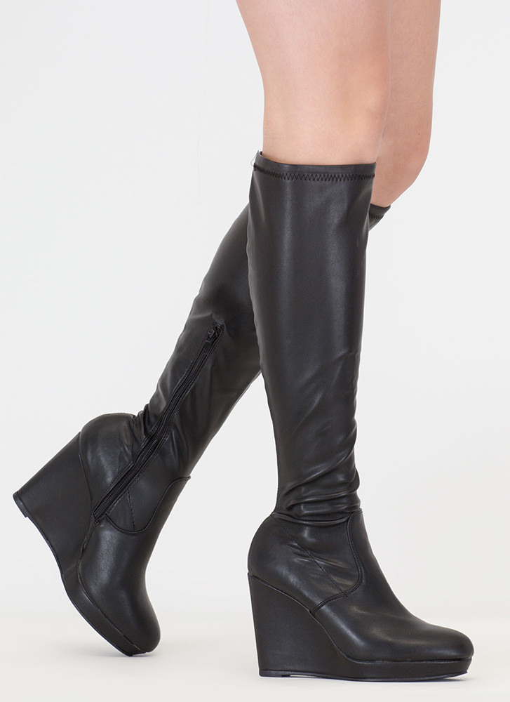 Knee Hi Faux Suede Wedge Boots BLACK