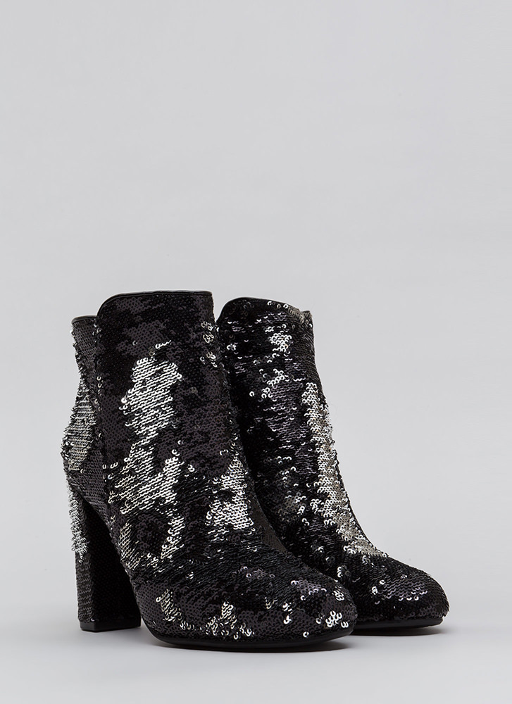 All Sequins All The Time Chunky Booties BLACK