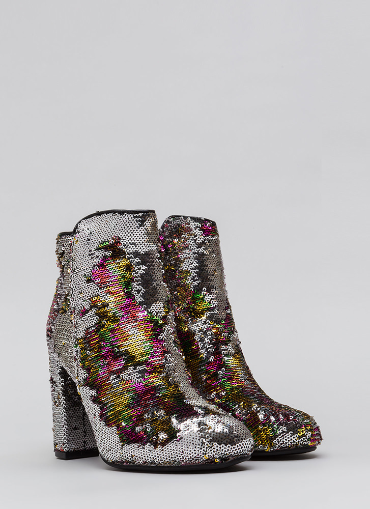 All Sequins All The Time Chunky Booties MULTI