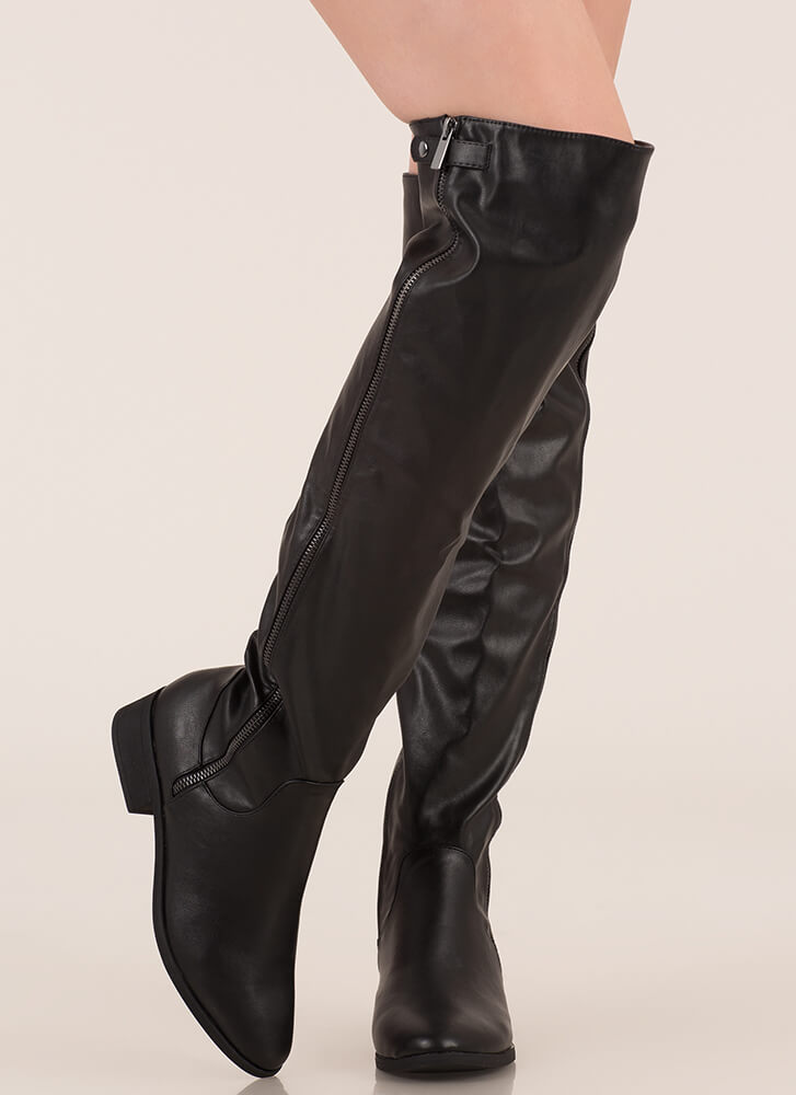 Zip It Up Faux Leather Thigh-High Boots BLACK