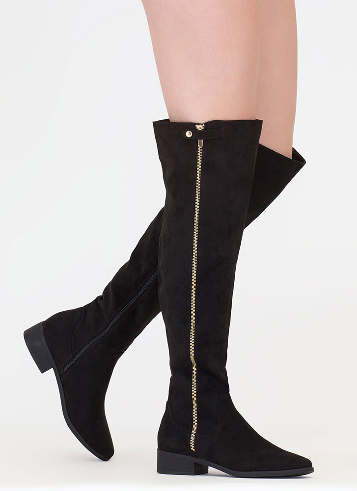 Zip It Up Faux Suede Thigh-High Boots BLACK