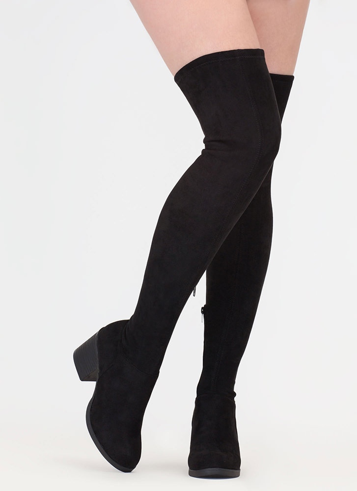 This Easy Block Heel Thigh-High Boots BLACK