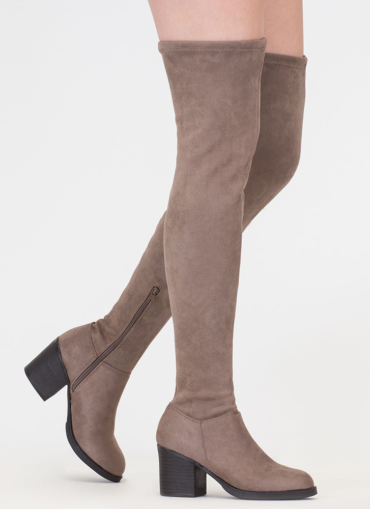 This Easy Block Heel Thigh-High Boots TAUPE