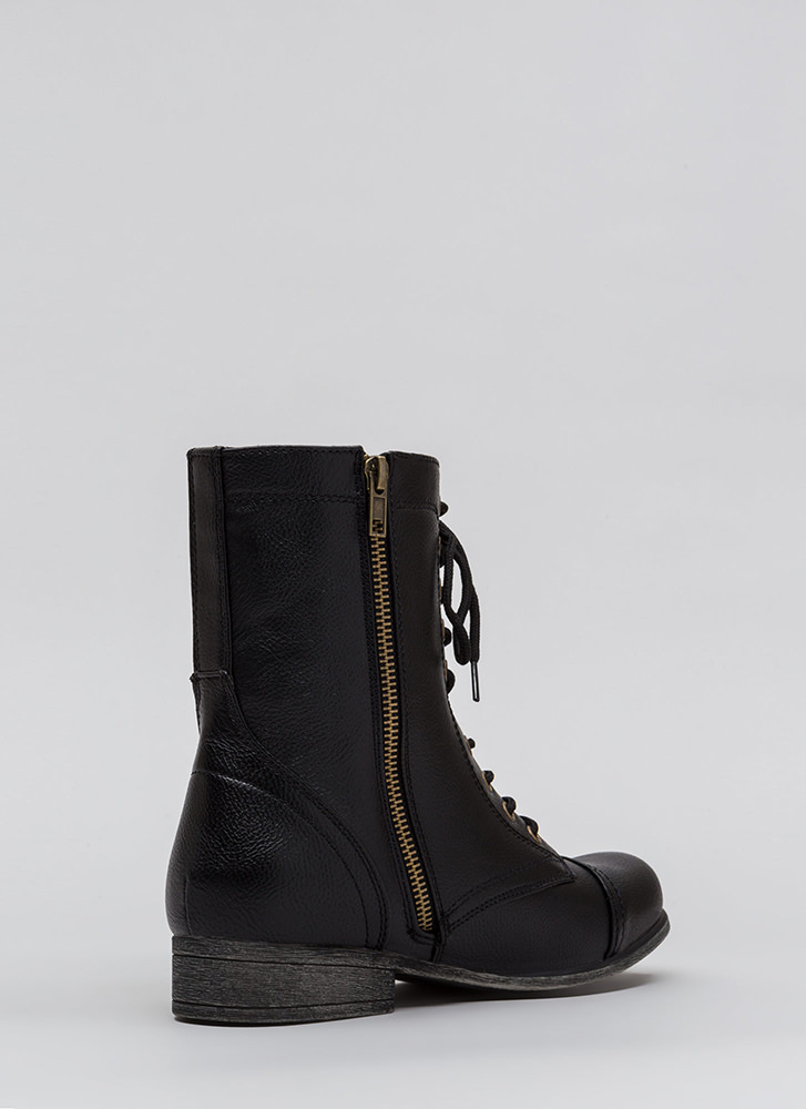 Go Fight Win Lace-Up Combat Boots BLACK