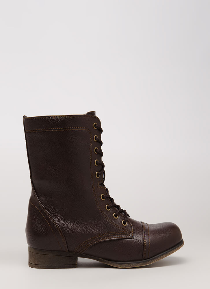 Go Fight Win Lace-Up Combat Boots BROWN