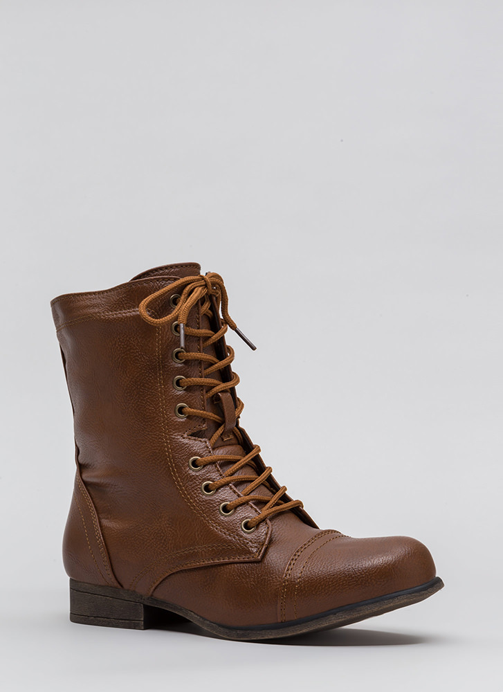 Go Fight Win Lace-Up Combat Boots CHESTNUT