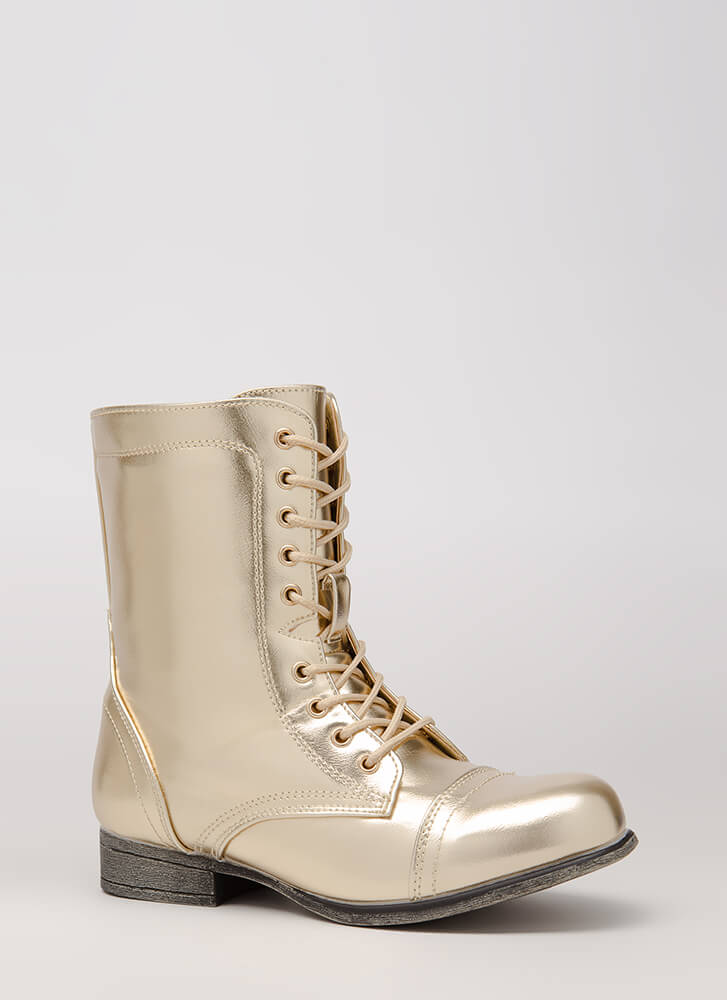 Go Fight Win Metallic Combat Boots GOLD