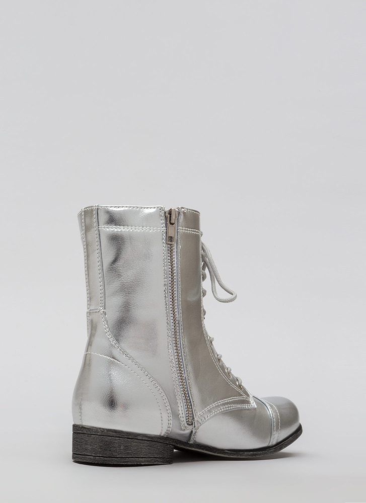 Go Fight Win Metallic Combat Boots SILVER