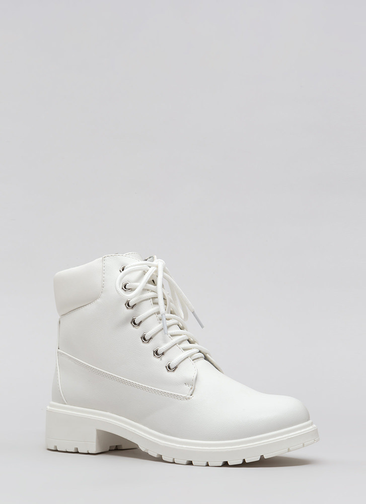 Make The Trek Lace-Up Lug Boots WHITE
