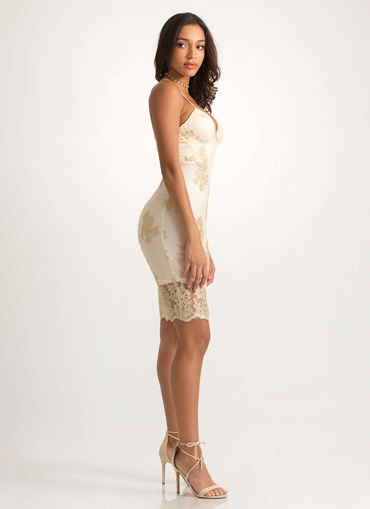 Fine Florals Lacy Embroidered Dress GOLD