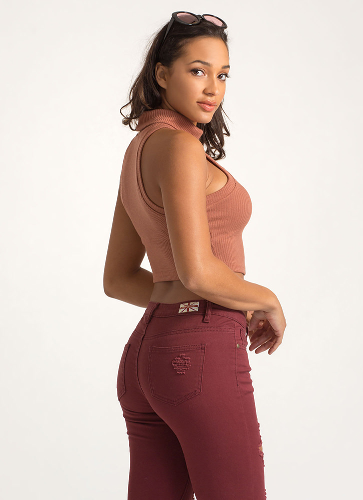 Hot And Cold Turtleneck Cropped Tank Top MARSALA