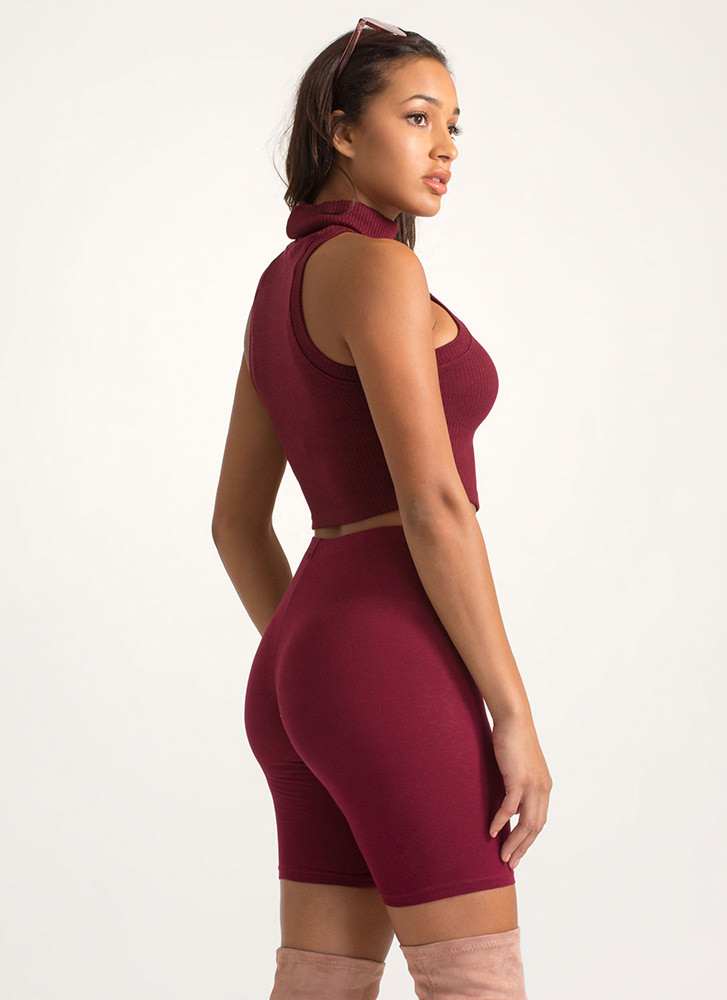 Hot And Cold Turtleneck Cropped Tank Top WINE