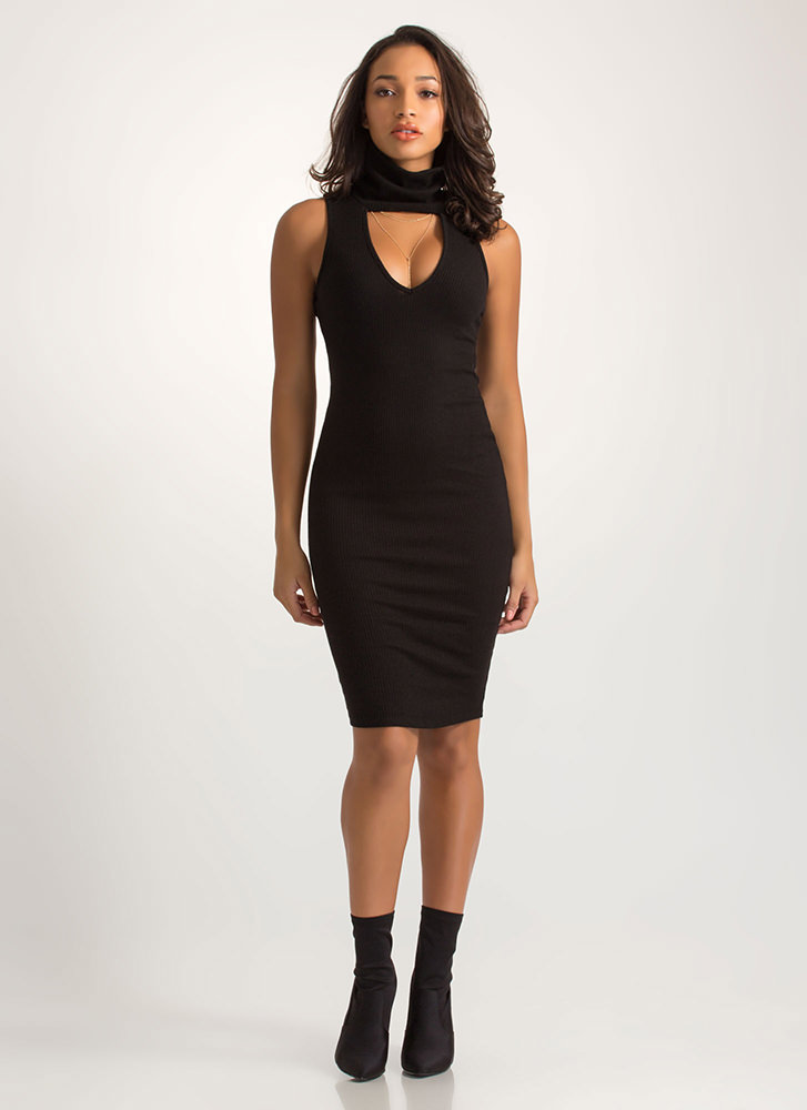 Collar Me Bad Ribbed Cut-Out Dress BLACK