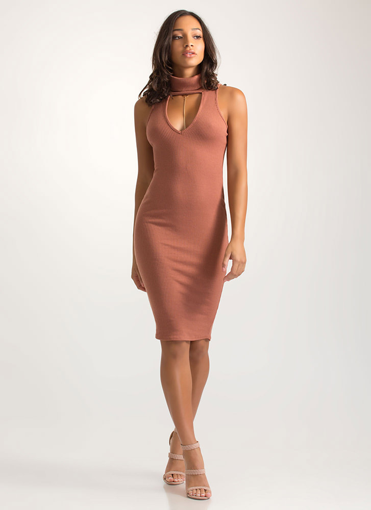 Collar Me Bad Ribbed Cut-Out Dress MARSALA