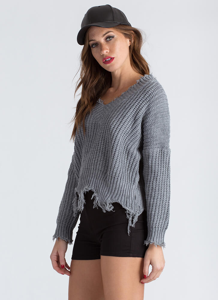 Cozy Up Distressed Knit V-Neck Sweater HGREY