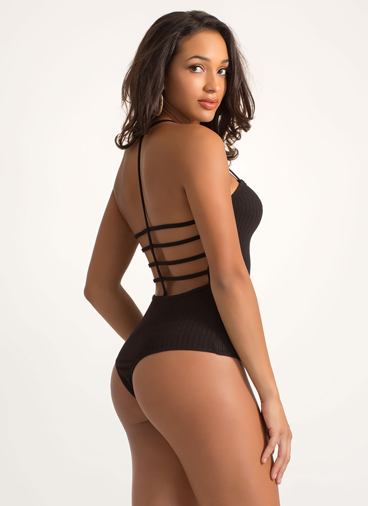 Cage Fight Strappy Thong Bodysuit BLACK