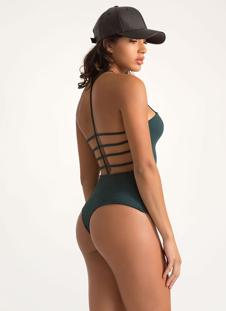 Cage Fight Strappy Thong Bodysuit DKGREEN