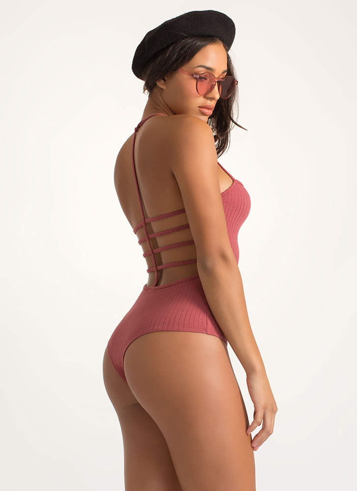 Cage Fight Strappy Thong Bodysuit ROSE