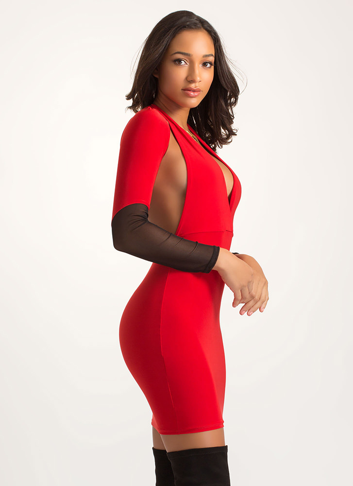 Hot Mesh Sleeve Cut-Out Halter Dress RED