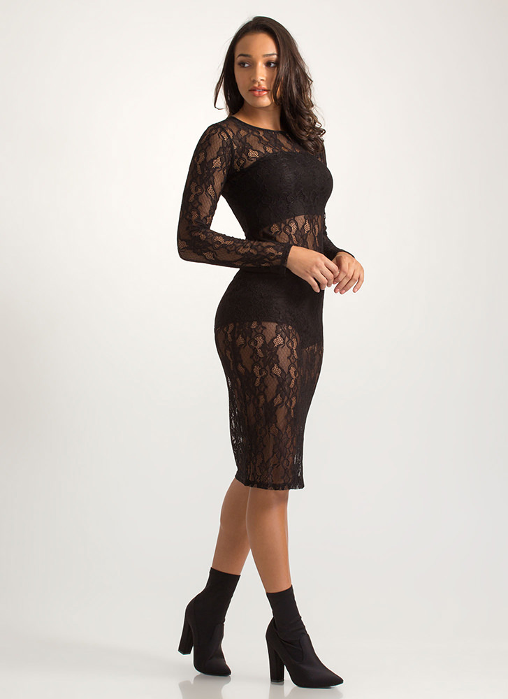 Oh-So-Sheer Floral Lace Midi Dress BLACK