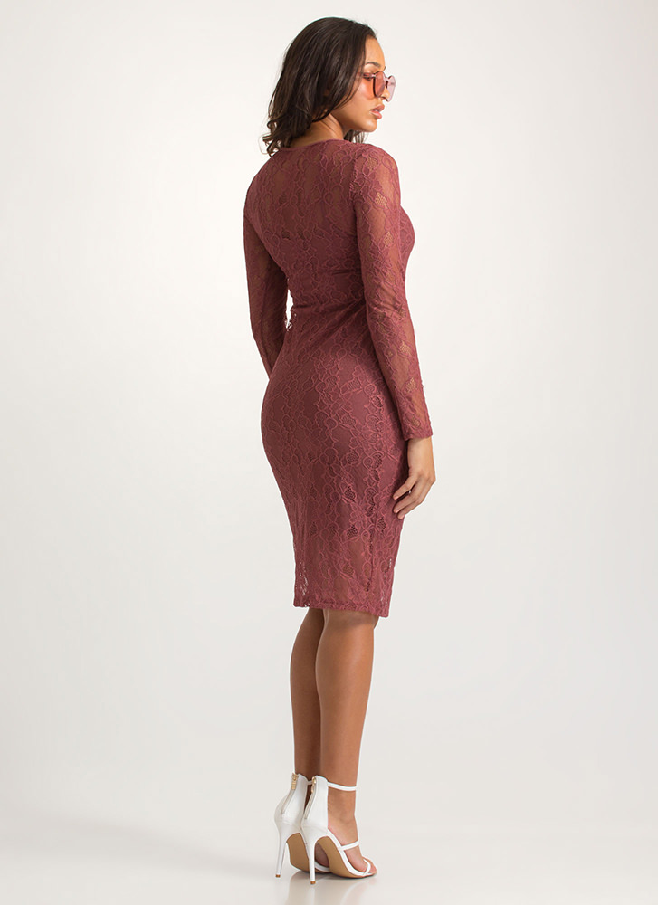Oh-So-Sheer Floral Lace Midi Dress DKROSE
