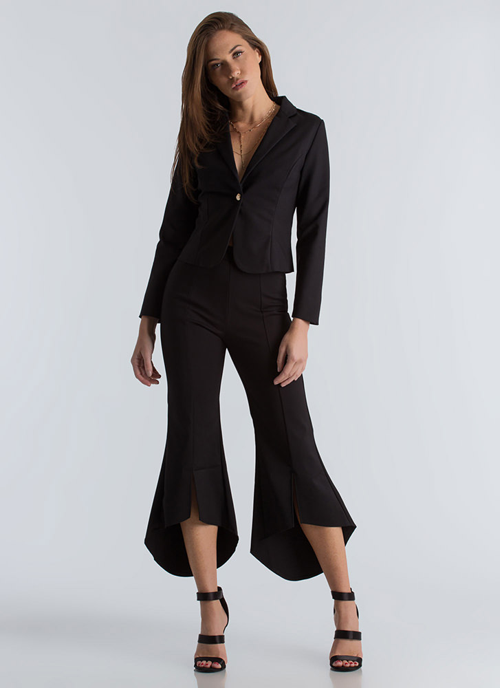 Flare For Business Blazer And Pant Set BLACK