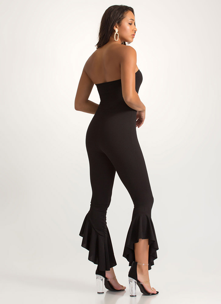 Ruffle Some Feathers Strapless Jumpsuit BLACK