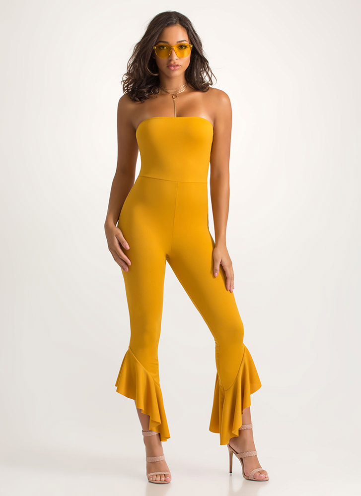 Ruffle Some Feathers Strapless Jumpsuit MUSTARD