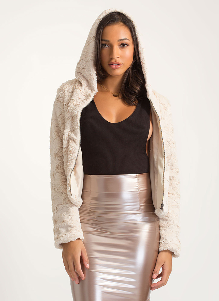 Plush Into It Hooded Faux Fur Jacket IVORY
