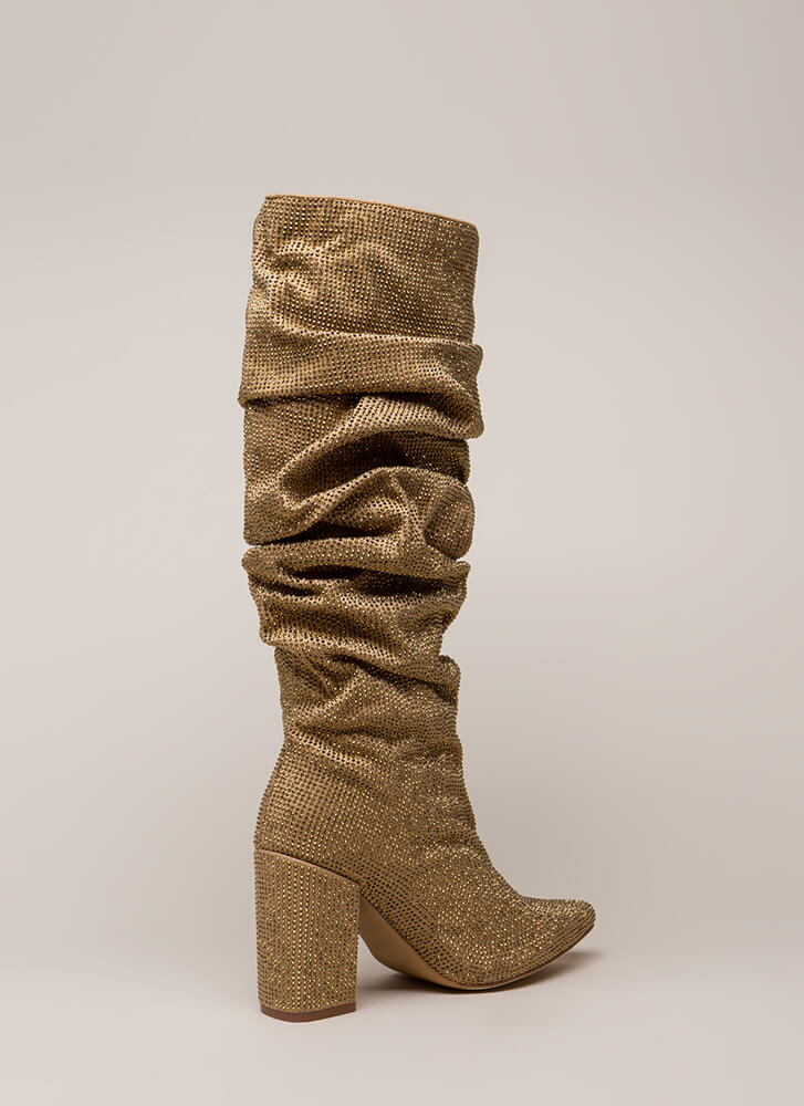 Rhinestone Cowgirl Slouchy Pointy Boots GOLD
