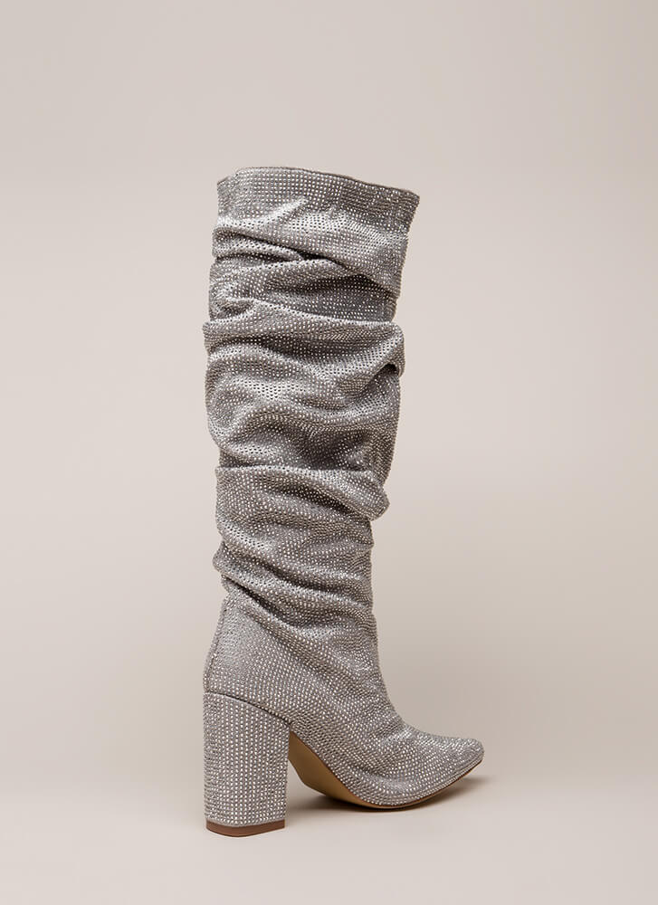 Rhinestone Cowgirl Slouchy Pointy Boots SILVER