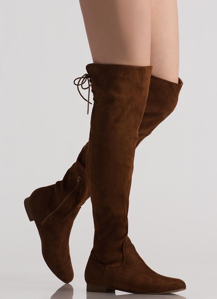 Take A Walk Lace-Back Thigh-High Boots COGNAC