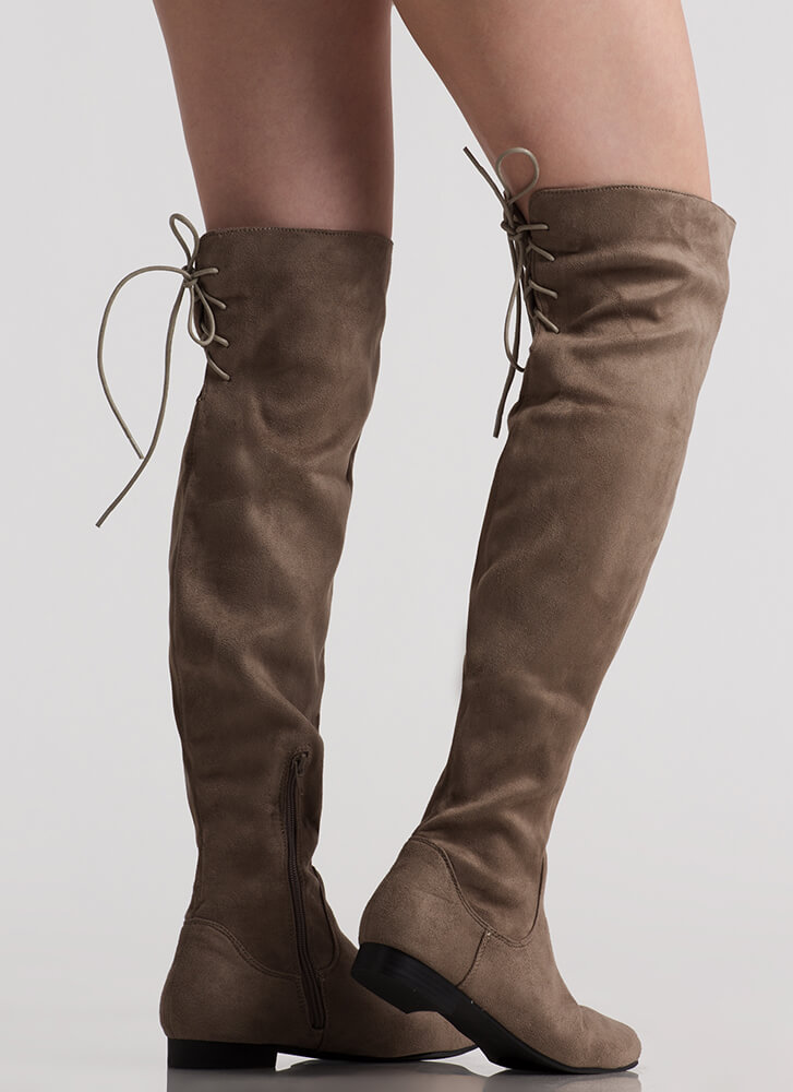 Take A Walk Lace-Back Thigh-High Boots GREY