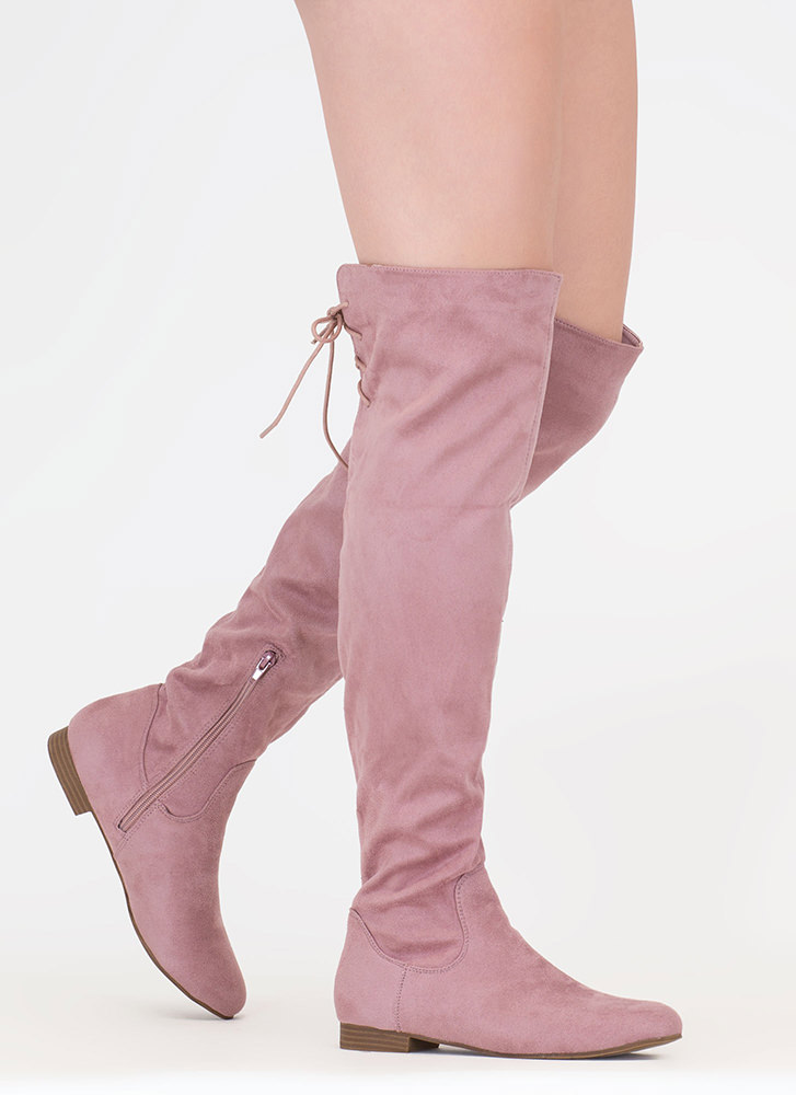 Take A Walk Lace-Back Thigh-High Boots MAUVE
