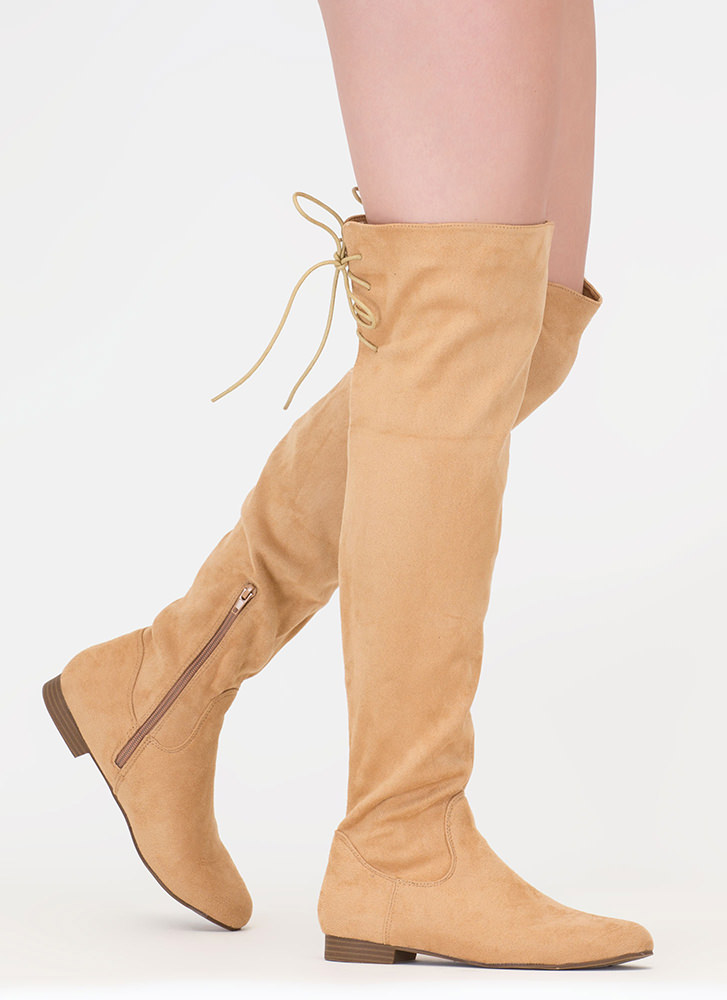 Take A Walk Lace-Back Thigh-High Boots NUDE