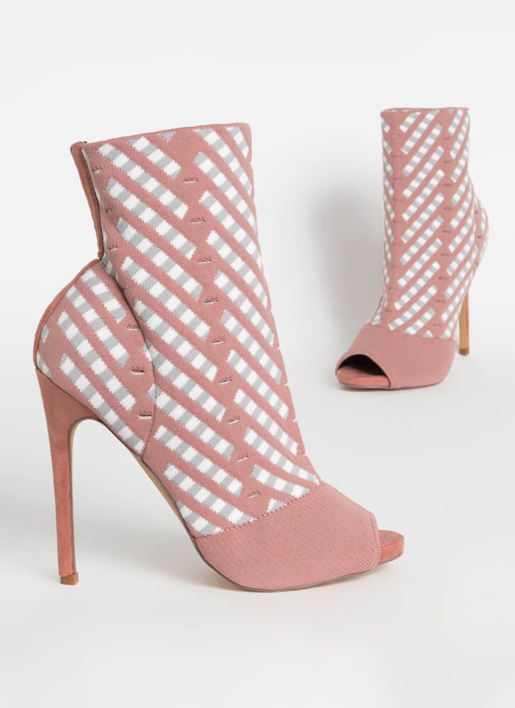 Basket Case Knit Peep-Toe Booties MAUVE