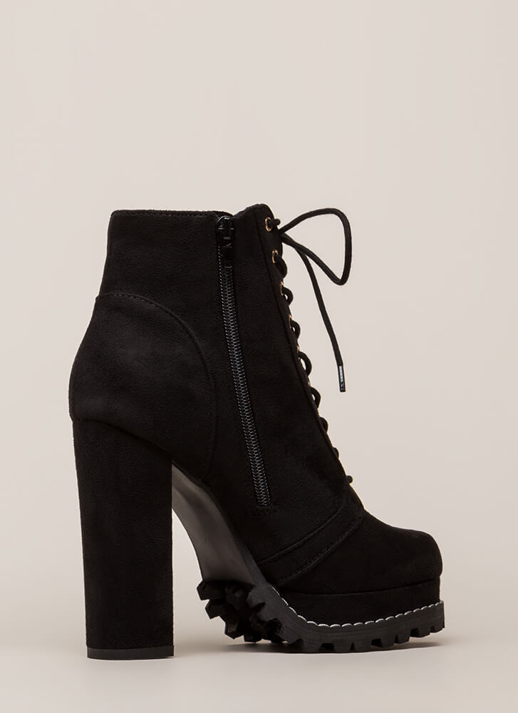 New Platform Chunky Lug Booties BLACK