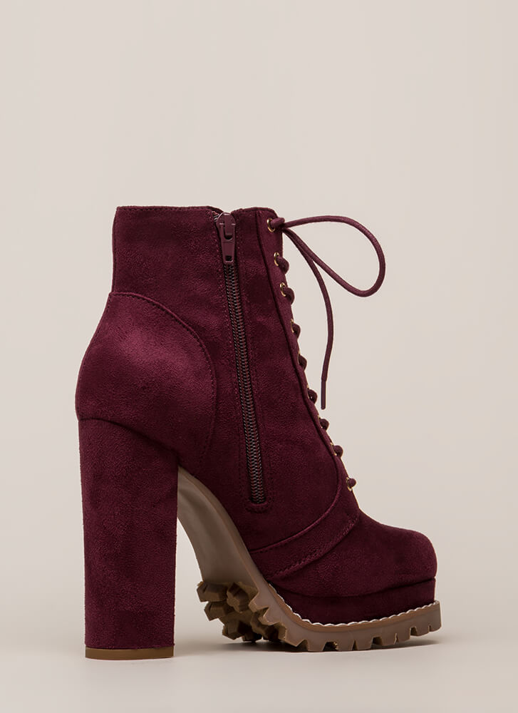 New Platform Chunky Lug Booties WINE