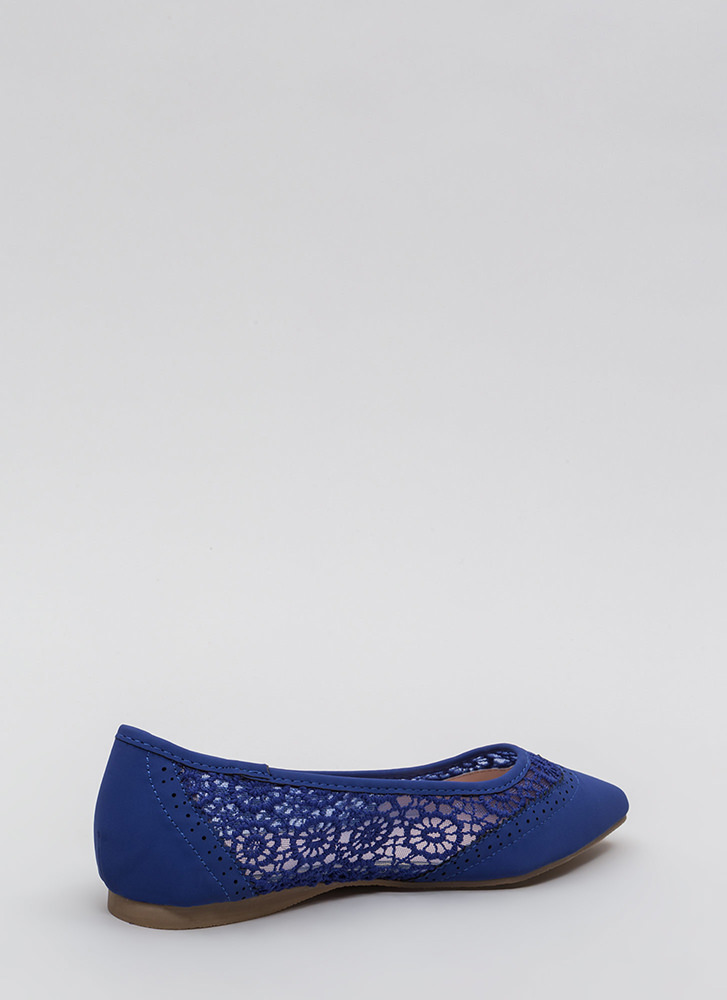 All In The Details Pointy Crochet Flats BLUE