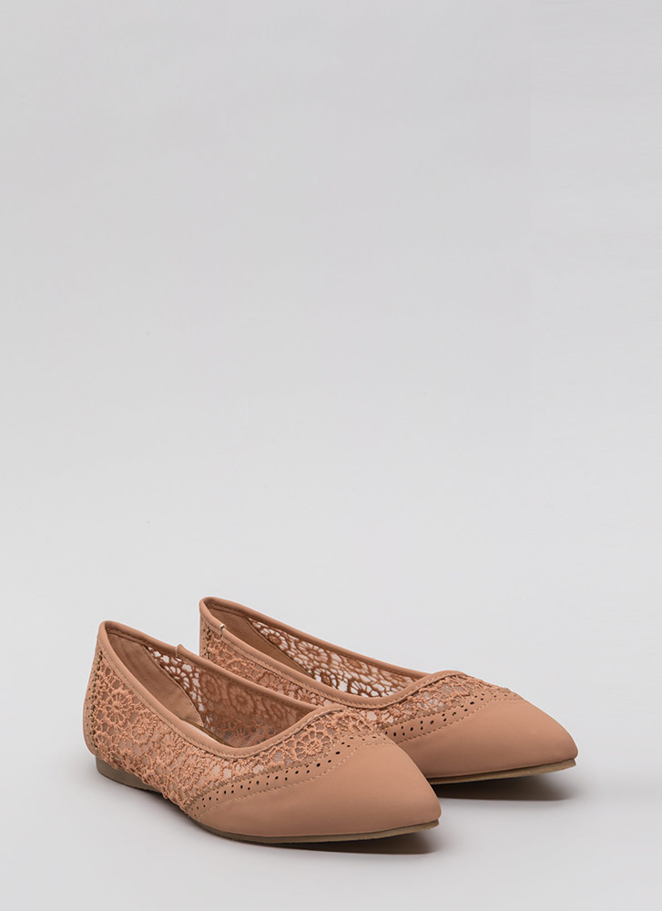 All In The Details Pointy Crochet Flats NUDE